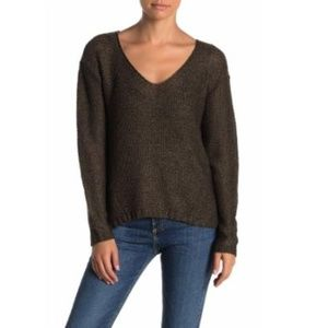 RDI V-Neck Knit Faux Suede Elbow Patch Sweater